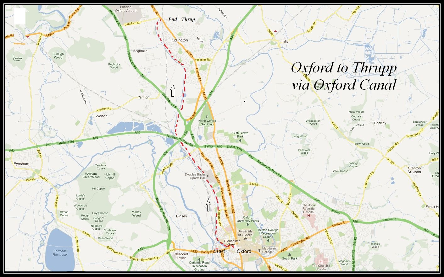 Oxford to Thrupp via The Oxford Canal Cycle Routes UK